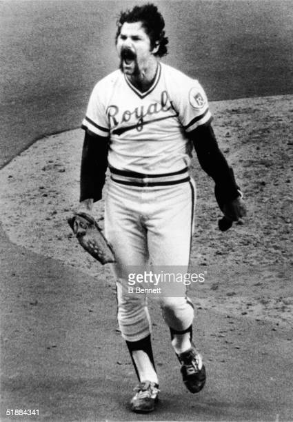 American baseball player Al Hrabosky pitcher for the Kansas City Royals shouts in victory as he leaves the mound following a win over the New York...