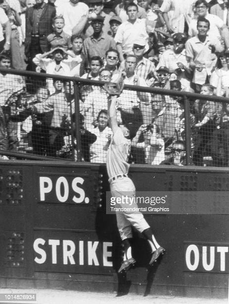 American baseball player Al Kaline of the Detroit Tigers jumps to make a catch in the outfield at Tiger Stadium Detroit Michigan 1960