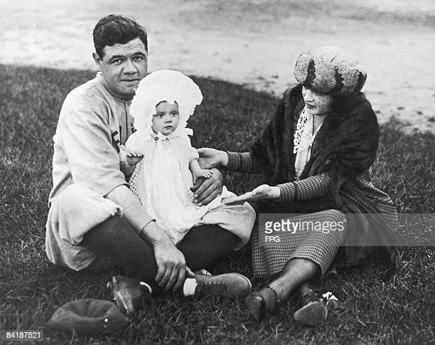 American baseball player Babe Ruth poses with his wife Helen Woodford Ruth and daughter Dorothy Ruth 1921