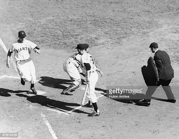 American baseball player Bobbby Thomson of the New York Giants scores a run in the second inning of game three of the World Series New York New York...