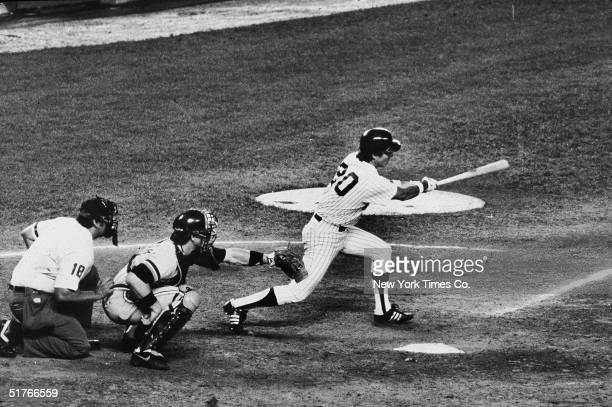 American baseball player Bucky Dent hits a single for the New York Yankees during a game against the Detroit Tigers at Yankee Stadium New York New...