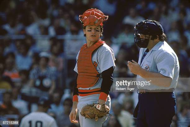 American baseball player Carlton Fisk catcher of the Boston Red Sox listens to the umpire during an away game Yankee Stadium the Bronx New York...