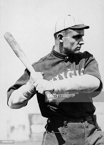 American baseball player Chick Gandil of the Chicago White Sox holds his bat at the ready as he poses for a portrait 1910