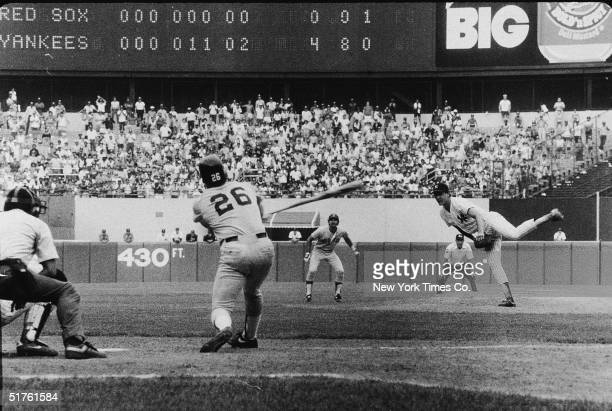 American baseball player Dave Righetti, pitcher for the New York Yankees, strikes out Wade Boggs of the Boston Red Sox in the first no-hitter in...