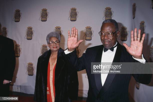 American baseball player Hank Aaron and his wife Billye Aaron attend the Sports Illustrated 20th Century Sports Awards held at Madison Square Garden...
