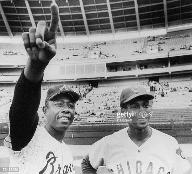 American baseball player Hank Aaron of the Atlanta Braves poses with Ernie Banks of the Chicago Cubs prior to a game Atlanta Georgia May 2 1970 Aaron...