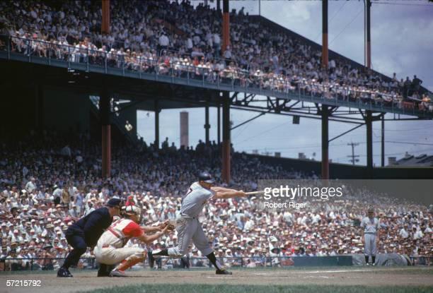 American baseball player Harvey Kuenn of the San Francisco Giants swings at a pitch during a road game against the Cincinnati Reds Cincinnati Ohio...