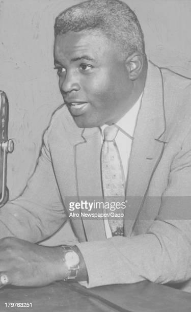 American baseball player Jackie Robinson of the Brooklyn Dodgers, New York, New York, October 10, 1952.