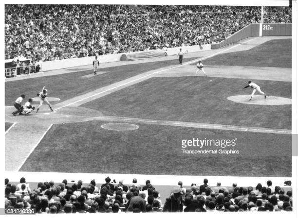 American baseball player Jerry Terrell, of the Minnesota Twins, stands at bat for the first pitch, from Rudy May of the New York Yankees, of the...