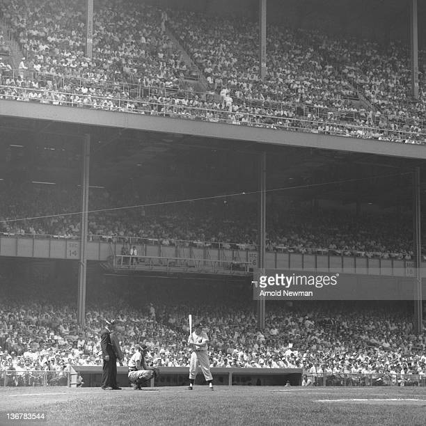 American baseball player Mickey Mantle of the New York Yankees at bat during a game against the Chicago White Sox at Yankee Stadium in the Bronx New...