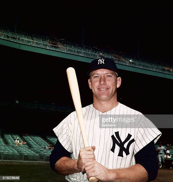 Mickey Mantle of the Yankees at Yankee Stadium
