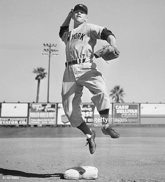 American baseball player Mickey Mantle , of the New York Yankees, during Spring training of his rookie year in March 1951.