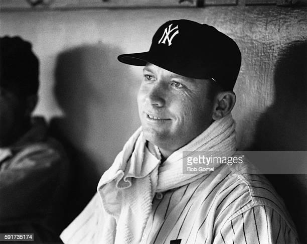 American baseball player Mickey Mantle playing in New York Yankee Stadium.