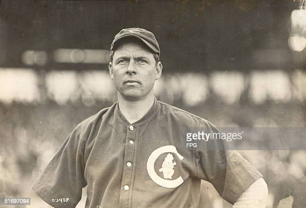 American baseball player Mordecai Brown pitcher for the Chicago Cubs from 1903 to 1912 stands on the pitcher's mound 1900s Nicknamed 'Miner' by his...