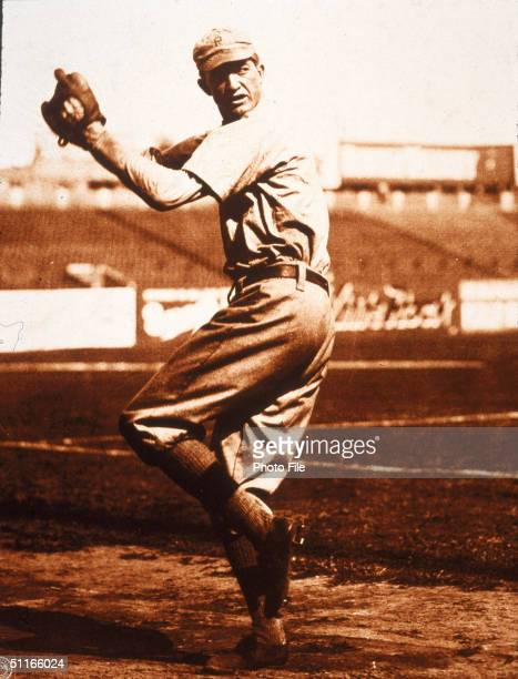 American baseball player Pete Alexander of the Philadelphia Phillies winds up for a pitch 1910s