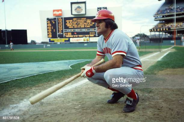 American baseball player Pete Rose of the Cincinatti Reds crouches on the field before a game at Shea Stadium in Flushing MeadowsCorona Park Queens...