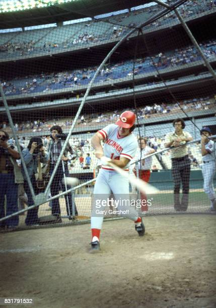 American baseball player Pete Rose of the Cincinatti Reds warms up during batting practice at Shea Stadium in Flushing MeadowsCorona Park Queens New...