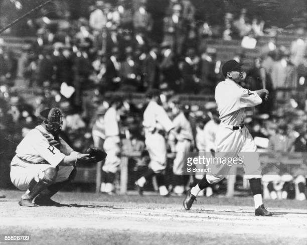 American baseball player Pie Traynor of the Pittsburgh Pirates warms up at bat prior to the first game of the World Series against the Washington...