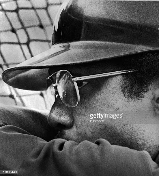 American baseball player Reggie Jackson outfielder for the New York Yankees is in deep concentration before the start of the 2nd game in the American...