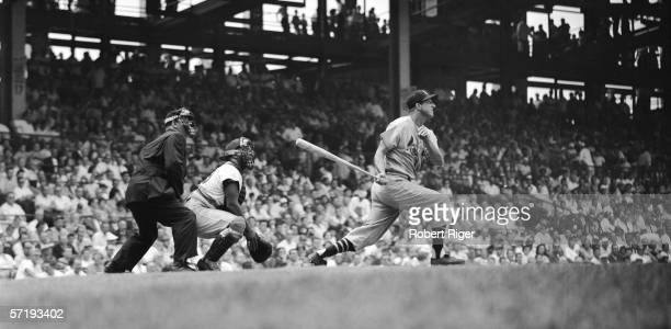 American baseball player Stan Musial of the St Louis Cardinals at bat during a game against the Brooklyn Dodgers at Ebbets Field Brooklyn New York...