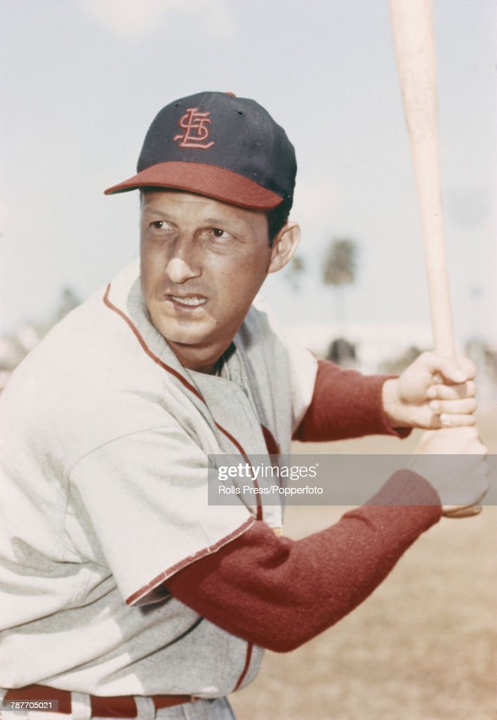 American baseball player Stan Musial (1920-2013) pictured in action at #6 for St Louis Cardinals circa 1956.