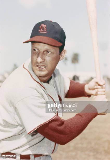 American baseball player Stan Musial pictured in action at for St Louis Cardinals circa 1956