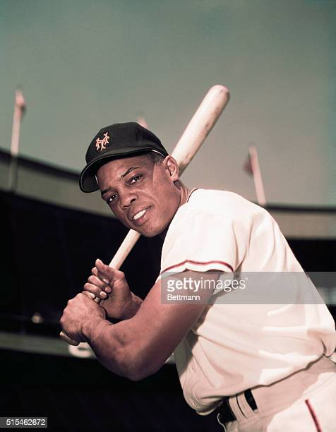 Willie Mays of the New York Giants is shown here in this threequarters length photo