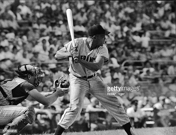 American baseball player Willie Mays of the San Francisco Giants at bat during a game against the Cincinnati Reds at Crosley Field Cincinnati Ohio...