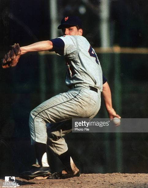 American baseball player with the New York Mets Nolan Ryan winds up on the pitcher's mound c 1968