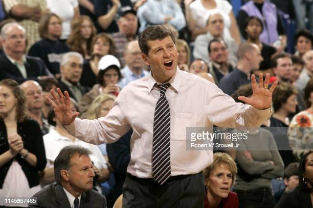 American basketball coach Geno Auriemma is upset with a call during a University of Connecticut women's basketball game against the University of...