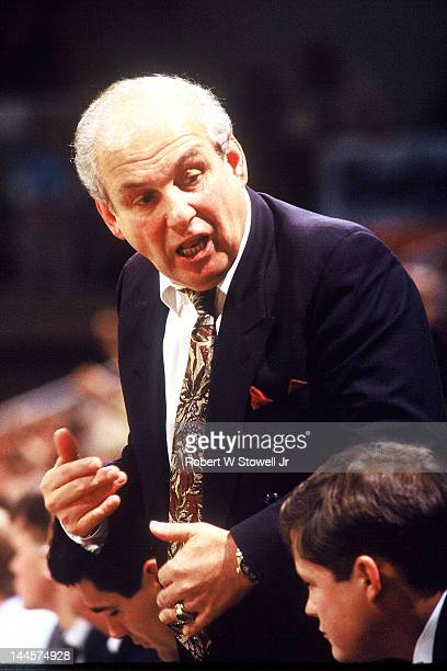 American basketball coach Rollie Massimino of Villanova University talks from the bench during a game against the University of Connecticut Hartford...