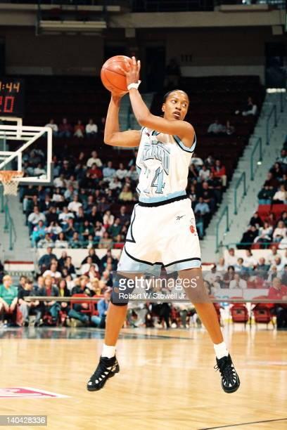 American Basketball League's Clarissa DavisWrightsil of the New England Blizzard rebounds against the Atlanta Glory Springfield MA 1997