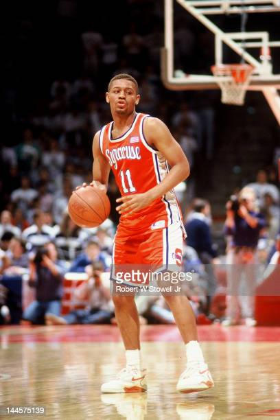 American basketball player Adrian Autry of Syracuse University with the ball during a game against the University of Connecticut, Hartford,...