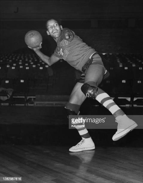 American basketball player Boid Buie of the Kansas City Stars basketball team and of the Harlem Globetrotters prepares to make a pass on the...