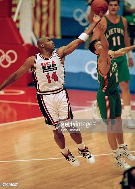 American basketball player Charles Barkley pictured in action for the United States basketball team in their semi final game against Lithuania at the...