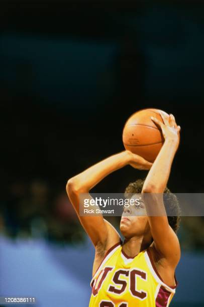American basketball player Cheryl Miller of USC Trojans takes a shot during a match against the Texas Longhorns, in Los Angeles, California, January...