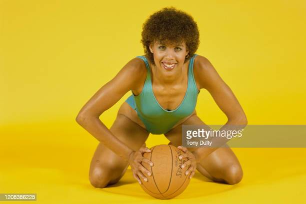 American basketball player Cheryl Miller of USC Trojans, wearing a one piece swimsuit, Los Angeles, California, circa 1986.