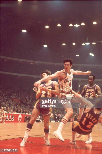 American basketball player Jerry Sloan , of the Chicago Bulls, in action on the court at Chicago Stadium, Chicago, Illinois, during the 1974-1975...