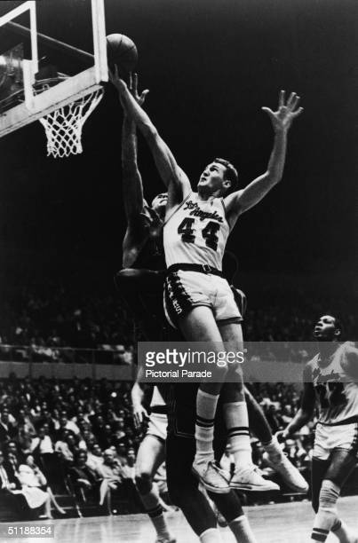 American basketball player Jerry West Los Angeles Lakers on a fierce drive to the hoop 1960s