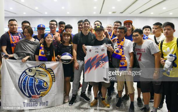 American basketball player Jimmer Fredette arrives for 2018/2019 CBA League match on September 17 2018 in Shanghai China