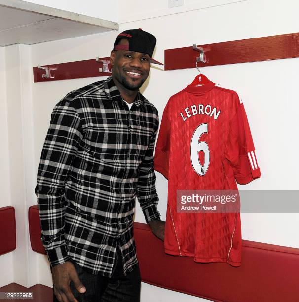American basketball player LeBron James a minority stakeholder of Liverpool FC visits Anfield stadium the home of Liverpool Football Club on October...