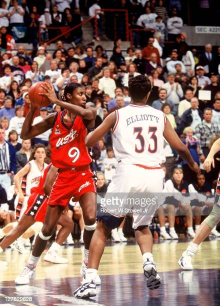 American basketball player Lisa Leslie of Team USA with the ball during an exhibition game against the University of Connecticut Storrs Connecticut...