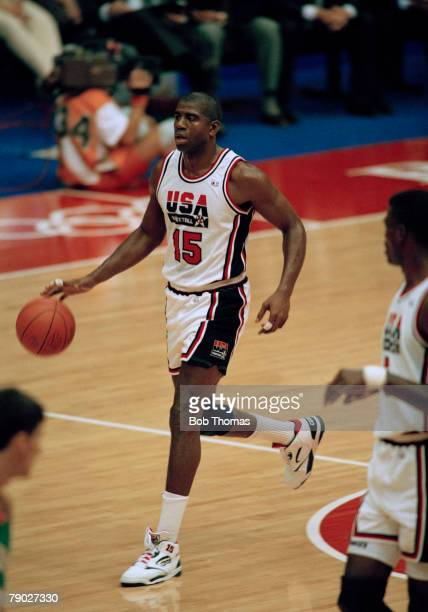 American basketball player Magic Johnson pictured in action for the United States basketball team in their semi final game against Lithuania at the...