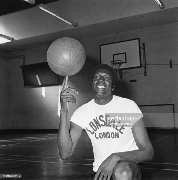 American basketball player Meadowlark Lemon , UK, 1971. He is wearing a Lonsdale London t-shirt.