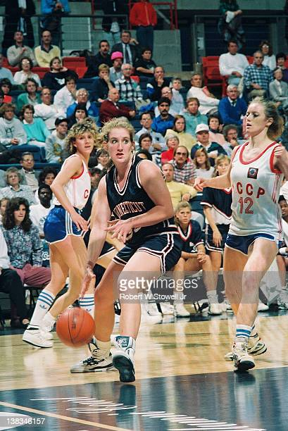 American basketball player Meghan Pattyson of the University of Connecticut with the ball during a game against Team Russia, Storrs, Connecticut,...