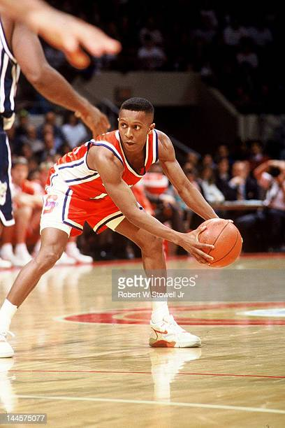 American basketball player Michael Edwards of Syracuse University with the ball during a game against the University of Connecticut, Hartford,...
