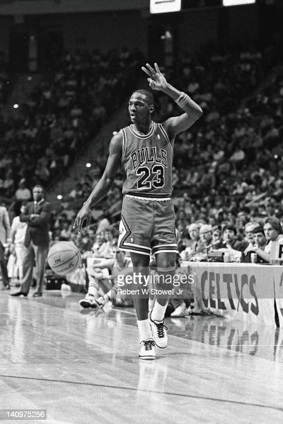 American basketball player Michael Jordan of the Chicago Bulls signals a play during a game Hartford Connecticut 1995