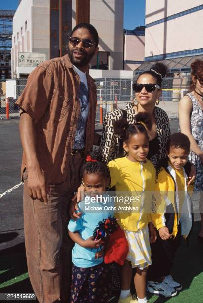 American basketball player Norm Nixon with his wife American actress and dancer Debbie Allen and two of their children Norman Nixon Jr and Vivian...