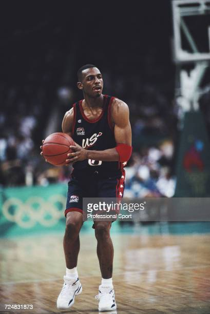 American basketball player Penny Hardaway pictured in action for the United States basketball team to progress to finish in first place in the...