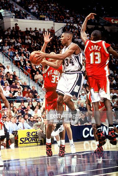 American basketball player Ray Allen of the University of Connecticut in action during a game against St John's University Hartford Connecticut 1995